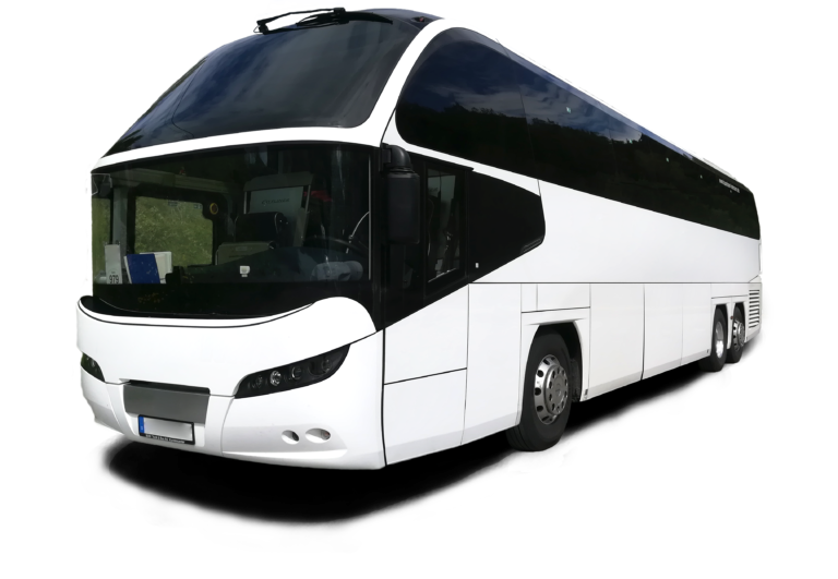 weißer moderner und komfortabler Reisebus mit getönten Scheiben