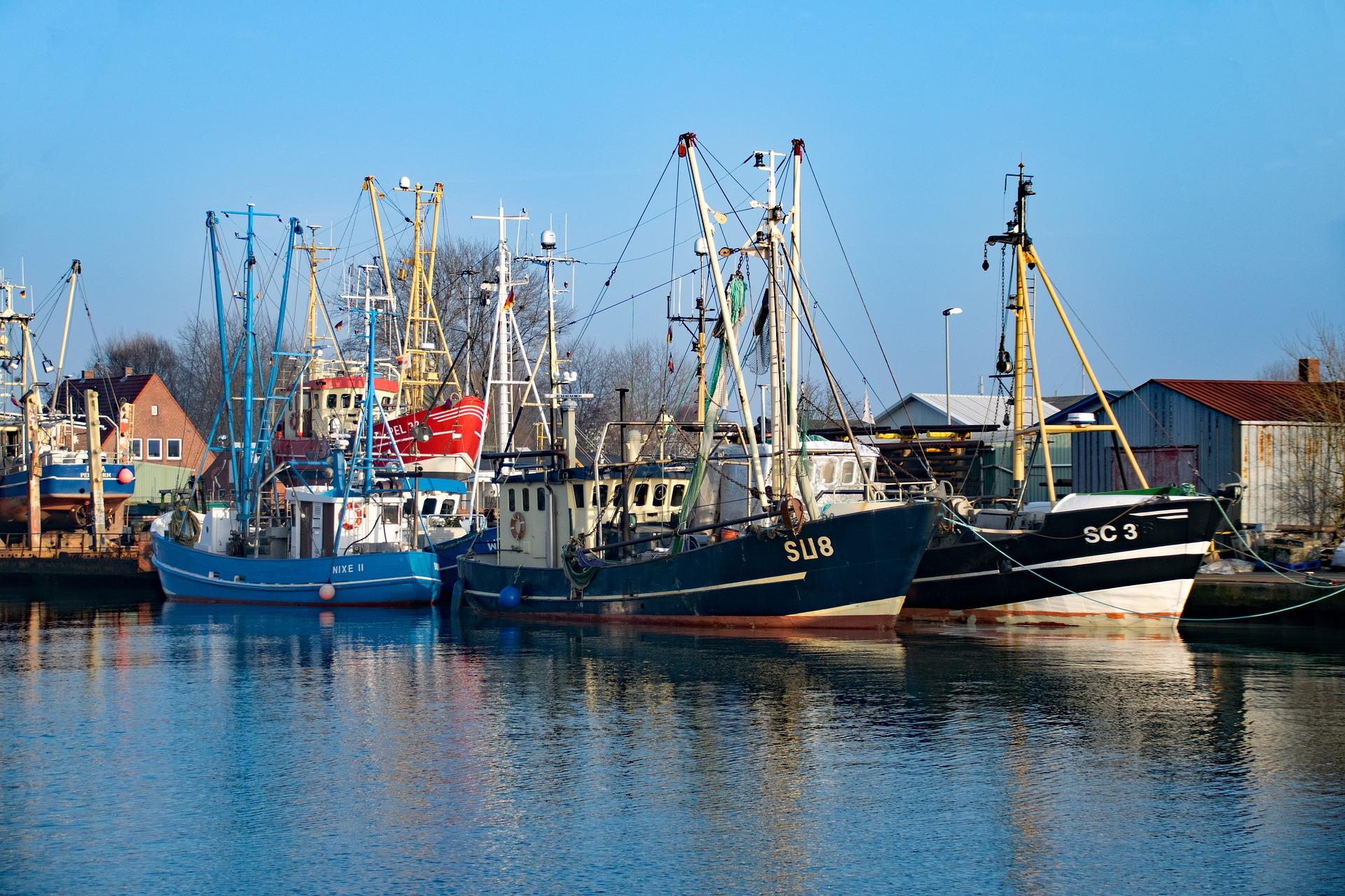 Bunte kleine Fischerboote im Hafen