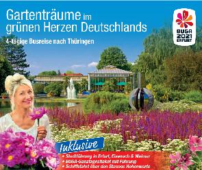 Deutschland Busreise Thüringen Werbeplakat trendtours egapark bunte Pflanzen
