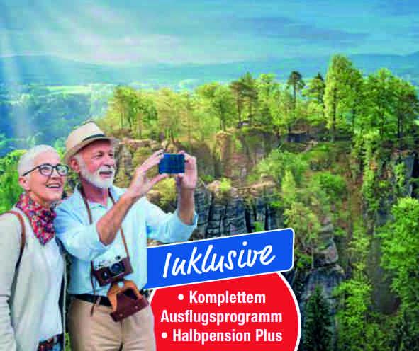 Deutschland Busreise trendtours Erzgebirge und Elbsandsteingebirge älteres Paar mit Fotoapperat