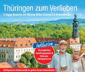 Deutschland Busreise Blick auf Thüringen Gebäude und Wald