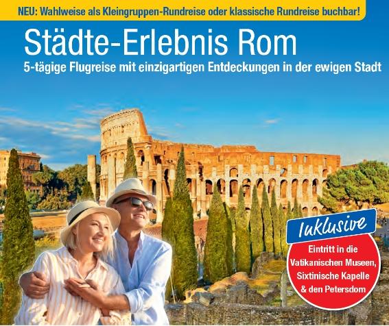 trendtours Prospekt Rom Colosseum alter heller Stein und älteres Paar