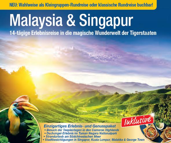 trendtours Malaysia und Singapur hügelige Berge im Sonnenschein