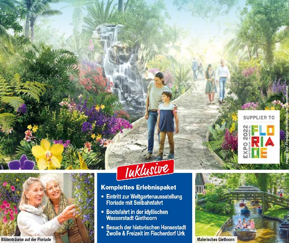 trendtours Werbung Flriade Niederlande Garten und zwei Personen
