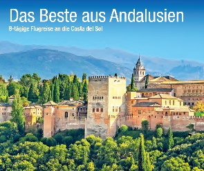 Blick auf eine Burg vor einem Gebirge in ANdalusien