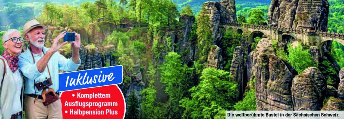 Deutschland Busreise Blick aufs Erzgebirge und Sächsische Schweiz