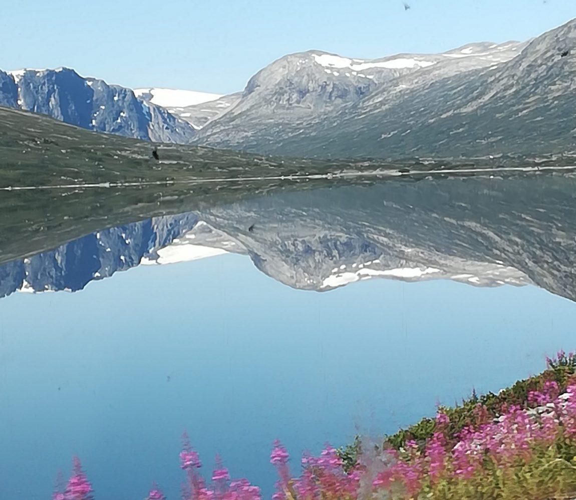 Blick auf spiegelklaren See mit norwegischem Gebirgszug im Hintergrund