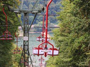 Firmenreise Incentive Sessellift Blick auf den Rhein